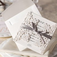 Wholesale New Arrive Set Lace And Ribbon Invitations Luxurious Wedding Invitation Card With Wedding Invitation Envelope
