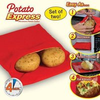 Wholesale DHL TV Red Potato Bag Microwave Potato Cooker Perfect Oven Baked Potatoes In Just Minutes Useful Cooking Tool