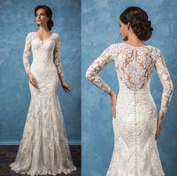 Wholesale long sleeve vintage wedding dresses amelia sposa bridal v neck full embellishment illusion back chapel train wedding gowns