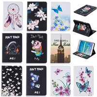 Wholesale Tablet case For Samsung galaxy Tab S2 T710 Cover Wallet Stand Leather Case With Card Slot Painting Butterfly tower Blue Bear