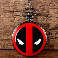animations quartz - Vine Black Red DEADPOOL Marvel Animation Anime Bullet Quartz Pocket Watch Necklace Chain Pendant Mens Women