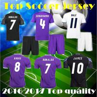 Wholesale 2016 Men Set soccer Jerseys RONALDO home white away Purple kits JAMES BALE RAMOS ISCO football shirt with shorts