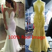 Wholesale 2016 Charming White Pearls Chiffon Prom Party Dresses High Neck Illusion Bodice Mermaid Plus Size Real Photos Formal Evening Pageant Gowns