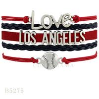 angeles love heart - Custom Infinity Love Los Angeles Baseball Charm Bracelets Christmas Gifts Bracelet Red Black Sky Blue White Leather Custom Bracelets