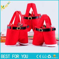 Wholesale Santa Pants Pattern Christmas Candy Bags Christmas Decoration Wedding Candy Bags Lovely Gifts Xmas Bag For Children