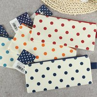Wholesale T31 Simple Polka Dots Oxford Canvas Pen Bag Pencil Holder Storage Case School Supply Birthday Gift Cosmetic Makeup Travel