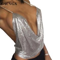 Women Solid Sequined Wholesale- GACVGA 2017 Sexy Backless Sequins Women Crop Tops Halter Tank Camis Summer Cropped Bra Crop Top Strap Ladies Party Vest Blusa