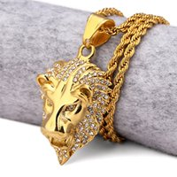 Pendant Necklaces best hip hop jewelry - hiphop k Gold Plated Iced Out The Kings of Animal lion head Pendants Hip Hop Jewelry For Men Women Best Gift Necklace