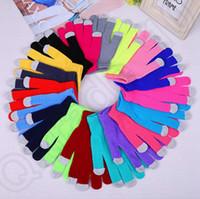 Gant d'écran tactile plein doigt couleur unie douce hiver gants tricotés pour gants de Smartphone gants magiques capacitifs 2pcs / pair OOA970
