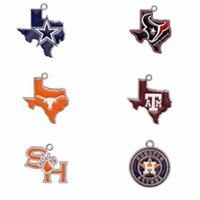 Wholesale Texas Jewelry Choose Your Team Enamel Texas map Cowboys Texans A M Aggies Longhorns Astros Sam Houston Pendant Charms