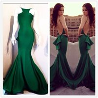 Wholesale Elegant Boat Neckline Sleeveless Dark Green Satin Long Mermaid Prom Dress Backless For Special Occasion Evening Party Gowns