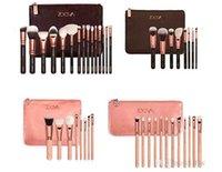 bamboo brushes - New ZOEVA Brushes Makeup Professional Brushes Kit Foundation Brush Bamboo handle Luxury Bag piece Black Pink bag