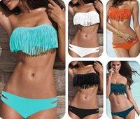 Compra Sexy bikini acolchado-La alta calidad 10 colores atractivos de la borla del sujetador atractivo del bikiní elástico de la mujer fijó los trajes de baño del deporte de la playa de la franja del deporte