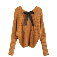 batwing jumper knitwear - 201612123 Womens Fall Fashion Knitwear Sweaters For Woman Khaki Pullover Jumpers V Neck Batwing Bow Tie Cable Knitted Sweater