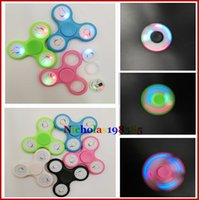 Fidget Spinner big green switch - EDC LED Light Flash With Switch Hand Spinner Finger Toys ABS Plastic Tri Spinner Fidget Spinner Spiral Finger Gyro Decompression Gag Toys