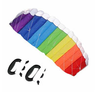 Wholesale Hot selling M Dual Line Stunt Parafoil Parachute Rainbow Outdoor Sports Beach Line Board Flying Kite in a bag