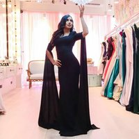 Cheap 2017 Graceful Black Long Mermaid Evening Dress Boat Neckline Half Sleeve Formal Party Dress with Shoulder Scarf Robe de Soiree Prom Gowns