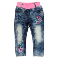 Wholesale Girl s Jeans With Flower Cotton Suitable for Spring and Autumn Sport and Leisure Classic and fashion