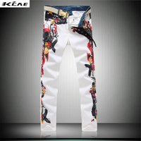 Wholesale new fashion straight leg jeans long men male printed denim pants cool cotton designer good quality trousers Big Size