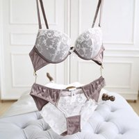 Wholesale Half Cup Together And Luxurious Embroidery Embroidered Underwire Push Up Women s Contrast Color Cotton A B C Cup