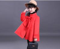 baby windbreaker jacket - Winter Baby Outwear Girl Woolen Coat Long Sleeve Big Bow Jacket Windbreaker Fashion Single Breasted Trench Coats p l