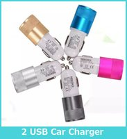 Wholesale Dual USB Port Car Adapter Charger Universal v A A Aluminum port Car Charger USB For Iphone7 Plus Samsung Galaxy S7
