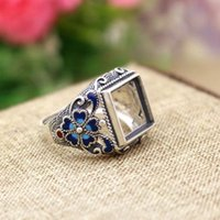 antique princess rings - 12mm Princess Cabochon Semi Mount Engagement Ring Silver Cloisonne Enamel Fine Silver Wedding Jewelry Setting Antique Vintage