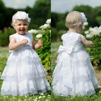 Wholesale Lovely White Lace Tulle Tiered Baby Christening Dresses High Quality Beaded Bow Sash Baptism Gown For Baby Girl With Headband EN110511