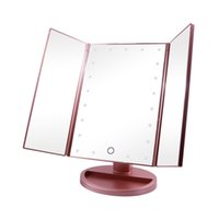 Wholesale Three Sided LED Lighted Mirrors Desktop Makeup Table Degree Adjustable Touch Sensor AAA Battery Mirrors