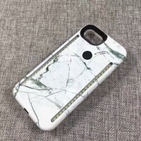 Wholesale new luxury Marble surface double glow shell Duo case for LED Light Flash Illuminated Selfie Lights Hard for iPhone Plus S