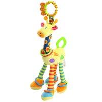 al por mayor bebé móvil de juguete-Calidad ciervos felpa juguetes cama bebé móvil colgando bebé juguete juguete jirafa con anillo de campana bebé teether Juguetes regalo de Navidad
