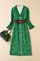 Wholesale European fashion beat the new spring couture runway lace long sleeve dress green dress