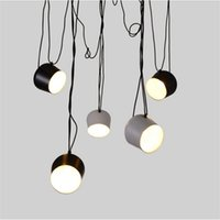 Wholesale LED Lights Aluminium Flos Aim White Black E27 Pendant Lamp Lights LED Bulb Grow Lights Bar Living Room Droplight Lighting Chandelier