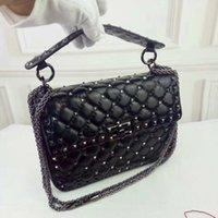 Wholesale High Quality calfskin leather rivets Bags Classic Diamond Lattice Lambkin Handbags Luxury Brands Women Genuine Leather Shoulder Bags Chain