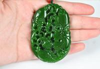 achat en gros de pendentifs poissons rouges-Jaspe Goldfish lotus sculpté à la main (ovale). Collier pendentif.