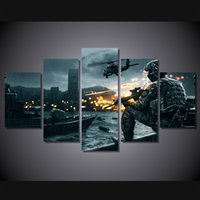 battlefield pc - 5 Set Framed HD Printed Battlefield Scenario Picture Wall Art Canvas Print Decor Poster Canvas Modern Oil Painting