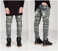 Wholesale New mens Biker Jeans Motorcycle Slim Fit Washed yellow Black Grey Blue Moto Denim skinny Elastic Pants Joggers For Men jeans