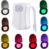 Wholesale 8 Colors LED Toilet Night Lights UV Motion Activated Light PIR Sensor Light Battery operated Lamp Indoor Lighting