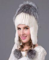 beach end - Russia Winter Hats for women genuine Mink Fur Hat with silver fox fur lady s fashion high end female cap