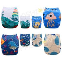 Wholesale pieces boy prints OCEAN series Position Printing Rusable One Size Pocket Baby Cloth Diapers with Microfiber Insert