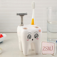 bathroom accessories shelf - Teeth Style Toothbrush Holder Hole Cartoon Toothbrush Stand Tooth Brush Shelf Bracket Container Bathroom Accessories Set