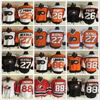 Wholesale Throwback Philadelphia Flyers Brian Propp Ron Hextall Eric Lindros black White Orange CCM NHL Ice Hockey Jerseys