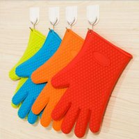 baked oven mitt - Silicone Kitchen Cooking Gloves Microwave Oven Non slip Mitt Heat Resistant Silicone Home Gloves Cooking Baking BBQ Gloves Holder