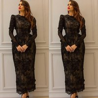 Wholesale Black Sheath Lace Evening Dresses Beaded Appliques Jewel Neckline Prom Dress Long Sleeves Ankle Length Formal Evening Gowns