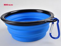 Wholesale 100pcs Silicone Collapsible Foldable Pet feeding Bowl Expandable Travel Dish w carabiner clip hook DHL FEDEX FREE SHIP