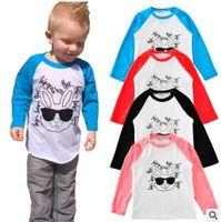 baby rabbits photos - INS Kids T Shirt Rabbit Sunglasses Words Printed Toddler Hiphop Long Sleeve Shirt Baby Girl Boys Cartoon Clothes Hipster Tops Photo