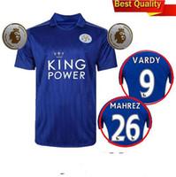 Wholesale Thailand Quality Season Leicester City Home Soccer Uniform Football Jerseys DRINKWATER ULLOA DYER MAHREZ VARDY