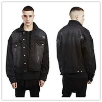 batwing coat - High Quality Mens Denim Jeans Jackets Homme Masculine Black Oversized Ripped Distressed Fashion Jeans Casual Hippop Streetwear Coats