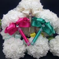 Wholesale 2017 Elegant Rose Artificial Bridal Flowers Bride Bouquet Wedding Bouquet Crystal Royal Blue Silk Ribbon New Buque De Noivablue bouquet