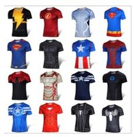 Men Crew Neck Short Sleeve 2016 t-shirt Batman Spiderman Ironman Superman Captain America Winter soldier Marvel T shirt Avengers Costume Comics Superhero mens